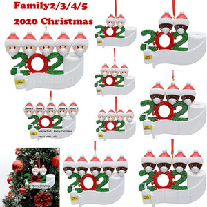 Карантин рождественские украшения рождественской елки Подвесной украшения подарка семейство орнамент с Resin маскировать руки дезинфицируются моря OWC2160