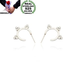 OMHXZJ Wholesale European Fashion Woman Girl Party Wedding Gift Zircon 925 Sterling Silver 18KT Yellow Gold Hoop Earrings EA442