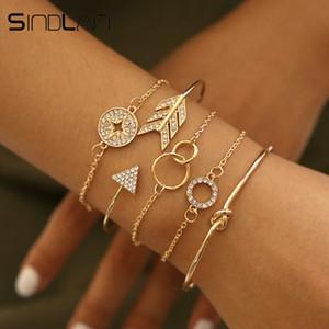 Sindlan 5PCs Kristall Geometrische Armbänder für Frauen Vintage Gold Offen Armbänder Set Pfeil Kompass Boho Armband-Handgelenk-Ketten Schmuck