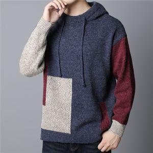 Artı Boyut Erkek Tasarımcı Kapüşonlular Moda Kontrast Renk Patchwork Uzun Kollu Örgü Kapşonlu Kazak Yeni Erkek Giyim Tops