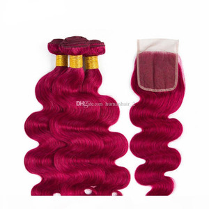 Wine Red Human Hair Weaves Body Wave Lace Closure With Bundles Virgin Brazilian 99j Human Hair Weaves and Lace Top Closure