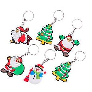 크리스마스 만화 PVC 키 체인 창조적 인 열쇠 고리 크리스마스 작은 실리콘 펜던트 이벤트 선물 부드러운 고무 키 체인 링