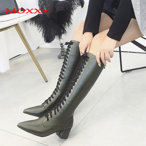Moxxy Sexy Pointed Toe Knee High Boots Women Shoes Lace Up Black Dark Green Punk Boots High Heel Autumn Winter Women 2020