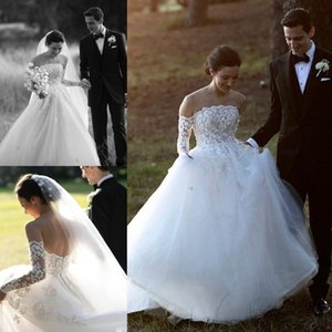 Country 3D Flowers Bohemian Wedding Dresses Sheer Neck Bridal Gowns Long Sleeves Puffy Ball Gown Lace Brides Plus Size Vestidos De Novia