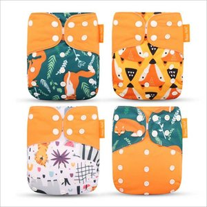 Happyflute 4pcs pack Cloth Diapers Baby Pocket Diaper Washable Reusable Nappy Cover Suits Birth To Potty One Size
