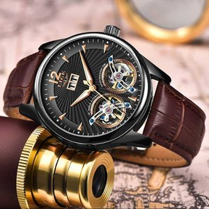 Watch Men 2020 LIGE New Dual Tourbillon Leather Mens Watches Top Automatic Mechanical Clock Male Sport Wirstwatch