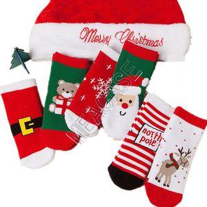 Neonate calzini di Natale Babbo Natale Orso del fiocco di neve Elk ispessimento modello di Natale calzini dei bambini dei ragazzi dei capretti Terry Sock Calze NUOVO D9808