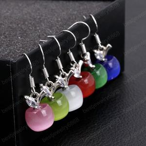6 Colors Fashion Cute Fruit Opal Stone Apple Earrings Crystal Dangle Earring for Women Jewelry Pendientes Mujer Moda