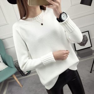 2019 Autumn and winter New Korean Round neck Sweater jacket Womens Long Sleeve Set head All match knitted Sweater woman ZX189