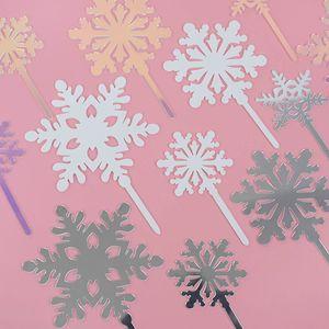 4pcs Chrsitmas Decoración de acrílico del copo de nieve de la torta fiesta de cumpleaños para primero de la magdalena de Navidad Año Nuevo Decoración Decoración de Pasteles