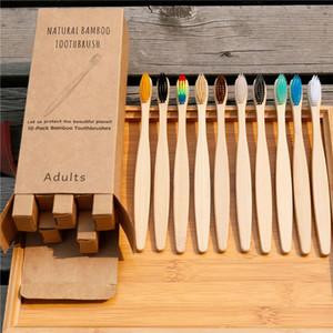 10PCS dientes colorido de bambú natural del cepillo de dientes Set cerda suave del carbón de leña de bambú Blanqueamiento Dental Cepillos de dientes suave madera Oral Care