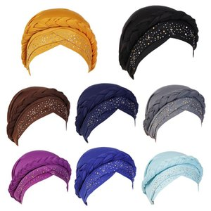 Women Muslim Twisted Braid Turban Cap Hot Drill Rhinestone Chemo Head Wrap Solid Islamic Hair Loss Beanie Hat