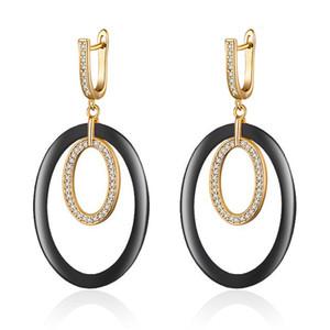 Big Circle Round Boucles d'oreilles en céramique pour les femmes Zircon Couleur Or Argent Grande Boucles d'oreilles Beaux cadeaux de bijoux pour les filles