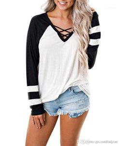 Pure Color weiblich T-Shirts Mode Panelled mit V-Ausschnitt Frauen-T-Shirts beiläufige Damen dünne Oberseiten mit Band Frühling