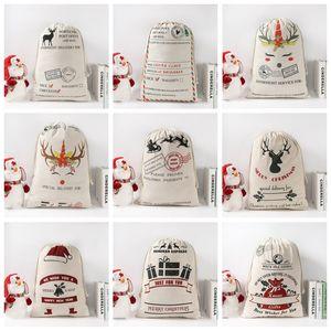 Santa Sack Bags Monogrammable Drawstring Bag Christmas Gift Bag Canvas renas Saco de Papai Noel Bolsa Totes dos doces Presente bolso Pouch B7643