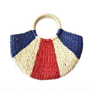 New Fashion MOON Straw Handbags Women Summer Beach Bag Rattan Bag Handmade Colorful Woven Handbag For Women Dropship H263