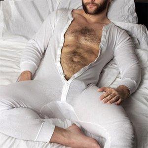 Sous-vêtements stretch Leotard Pyjama confortable et doux vêtements de nuit sexy Hommes Bodysuit Bodysuit Jockstrap Butt ouvert Briefs Pyjama hommes