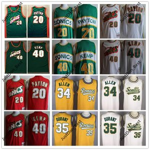 Vintage Erkek SeattleSüperSonics 20 Payton 35 Durant 40Reign Man Shawn Kemp 34 Allen Basketbol Formalar Gömlek mans