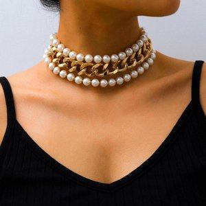 Multi Layer retro imitación perlas cadena de acoplamiento del encintado Miami cubano Chunky cuello collar de la joyería collar femenino partido de cena de encanto