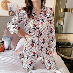 Luxus-Pyjama Anzug Satin Silk Pyjamas Sets Paar Blume gedruckt Nachtwäsche Familie Pijama Liebhaber Nacht Anzug Männer Frauen beiläufige Startseite Clothin # 341