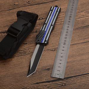 1pcs Nouveau drapeau bleu poignée A161 Autao Couteau tactique 440C Two Tone Tanto point lame alliage Zn-Al poignée Couteaux EDC avec sac en nylon