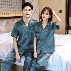 Lettre de luxe Couple Pyjama Set INS style Soft Touch Hommes Femmes Pyjamas intérieur soie Nightclothes Casual amant