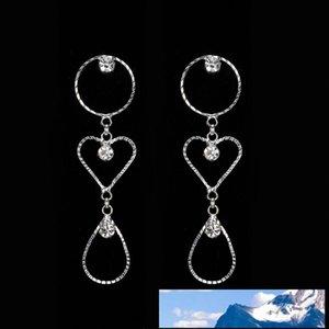 Atmosphère Exagération Zirconium Shi Shanliang Oreille Clou Eardrop Femme Diamond Circle Fonds à long Cristal Boucles d'oreilles