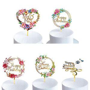 Acrílico Inserir Cartão do bolo de flor colorido Baking Party Decor Feliz Aniversário Acessórios bolo de casamento dourado Sobremesa Decoratio