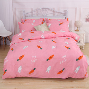Cartoon Carrot Bed Linen Set Sheets Duvet Cover Quilt Cover Pillowcase 4pcs set Students Kids Pink Bedclothes Bedding Set