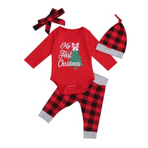 0-18M Christmas Baby Clothing Newborn Kid Boy Girl Clothes set Long Sleeve Xmas Tree Print Bodysuit Top Plaid Pant suit Outfit