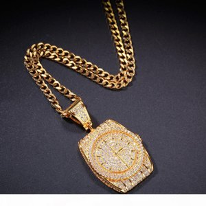Zircon Dial Pendant Watch and Clock Pendant New Personality Street Fashion Necklace Jewelry