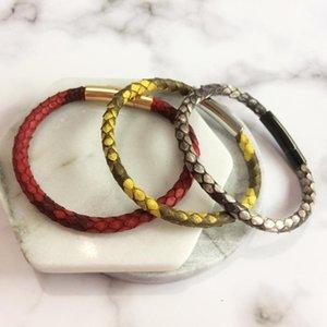 Luxury Men Blue Python Leather Bracelet With Magnet Python Watch Brand Genuine Leather Strap Bracelets Women