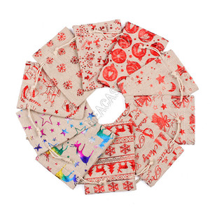 Motif de Noël sacs à cordonnet Sacs à main Lin Designers Sacs à dos Jute Sac enfants cadeaux de stockage sac en tissu Candy Bag Purse Boutique D9809
