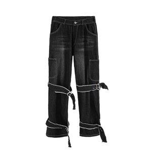 شارع العليا الملون الجينز للرجال مستقيم ريترو فضفاض واسع الساق سروال جينز كبير جدا أشرطة الهيب هوب سروال فضفاض عارضة الشحن
