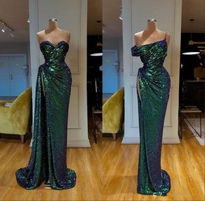 Sexy Sleeveless Silver Mermaid Evening Dresses 2019 Sexy High Split Prom Dress Sequined Formal Evening Gowns robe de soiree Abendkleider
