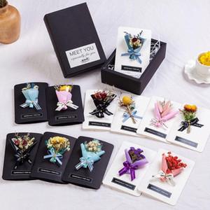 2020 Nouvelle création de fleurs séchées Cartes de voeux avec boîte-cadeau romantique Valentine Cartes de voeux Bouquet Fête des Mères nouvelle année cadeau