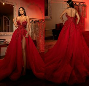 Berta 2021 Red Split Prom Dresses Sexy Sweetheart Lace Appliqued Beaded Formal Evening Gowns A Line Vestidos De Soiree