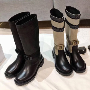 Winters neue Ritter Stiefel Brief Socken Frauenschuhe Gestrickte elastische hohe Stiefel-Mode-Plattform Dame Langer Stiefel 100% Leder Frau Schuhe
