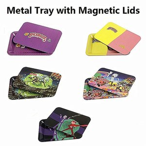 Metal Rolling Tray Cartoon coloré surface avec Couvercles magnétique Couverture Backwoods Tobacco Accessoires 180x120mm 287x187mm Taille Herb Stockage