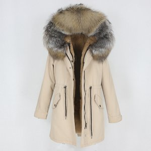 OFTBUY 2020 Nouvelle Veste imperméable hiver Parka femmes Manteau réel Fox naturel fourrure de raton laveur Capuche amovible vêtement Streetwear T200908