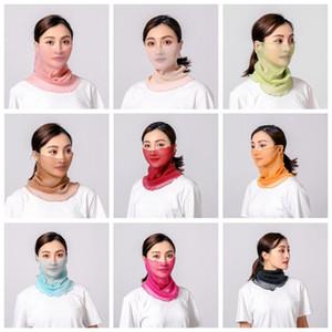 الأوشحة الحريرية واقية من الشمس قناع الوجه الصيف السيدات أقنعة ركوب الوجه غطاء غطاء الغبار رئيس التفاف الرقبة طوق الصلبة bandanas turban FWB3470