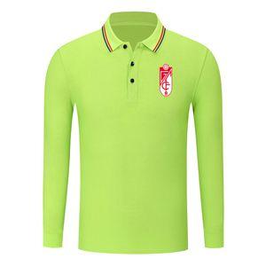 Granada CF New queda Moda algodão manga comprida Camisa Polo Golf manga comprida lapela Shirt Sports Slim Fit Negócios Polo Futebol POLO