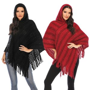 Shawl with Hooded Scarf Women's Winter High-Neck Capes Knit Tassel Fringed Shawls Wrap Coats Tops Warm Fashion Cape Cloak Womens