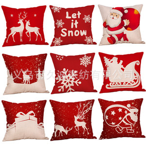2020 New Santa Claus Moose Snowflake series pillowcase holiday Home Hotel Decoration Christmas comfortable sofa cushion cover