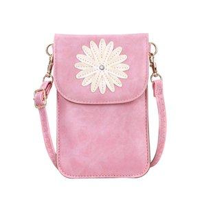Цветочный узор на ремне, милый сотовый телефон кошелек сенсорный экран окно Crossbody чехол Посланника сумки Сумки Девочка сумка