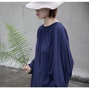 Shirts women Original design New minimalist Cotton and linen Sense of natural wrinkle Set head loose T shirt N021 0924