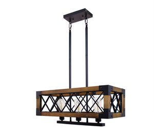 Retro industrial loft real wood chandelier American bar restaurant iron creative rectangular lighting