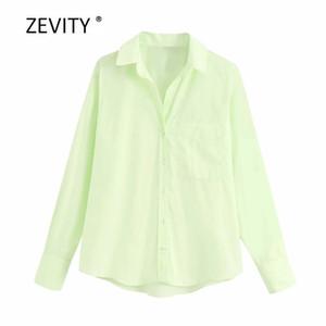 Zevity Yeni kadın moda düz renk cebi rahat önlük bluz ofis bayanlar uzun kollu iş gömlek şık blusas LS6838 başında