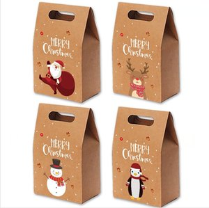 Christmas Gift Bags Xmas Vintage Kraft Paper Apples Candy Case Party Gift Hand Bag Wrapped Package Decoration Party Favor Supply LJJP472