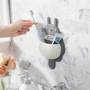 흡입 칫솔 홀더 스토리지 박스 욕실 용품 DH0954 매달려 귀여운 토토로 빠는 칫솔 홀더 만화 토토로 벽걸이